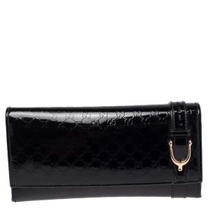 Gucci Black MicroGuccissima Patent Leather Continental Wallet