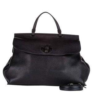 Gucci Black Leather Bamboo Daily Satchel Bag