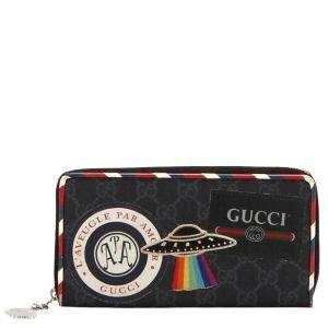 Gucci Black GG Supreme Canvas Night Courrier Long Wallet