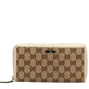 Gucci Beige GG Canvsa Zip Around Wallet