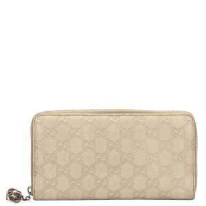 Gucci White Microguccissima Leather Zip Around Leather Wallet