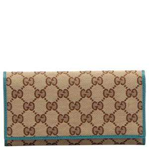 Gucci Brown/Beige GG Canvas Long Wallet