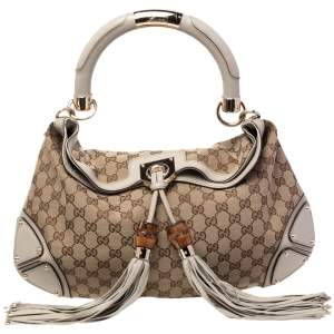 Gucci Beige/Brown GG Canvas and Leather Medium Babouska Indy Hobo