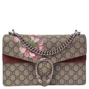 Gucci Beige/Maroon GG Supreme Canvas and Suede Small Dionysus Shoulder Bag