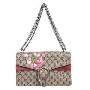 Gucci Beige/Maroon GG Supreme Bloom Canvas and Suede Small Dionysus Shoulder Bag