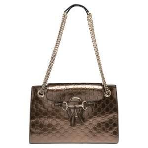 Gucci Metallic Bronze Guccissima Patent Leather Large Emily Chain Shoulder Bag
