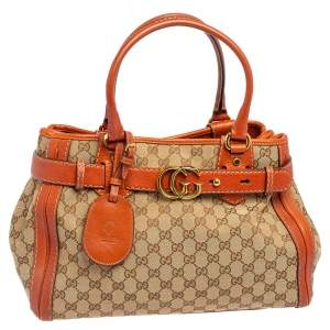 Gucci Brown/Beige GG Canvas And Leather Medium Running Tote