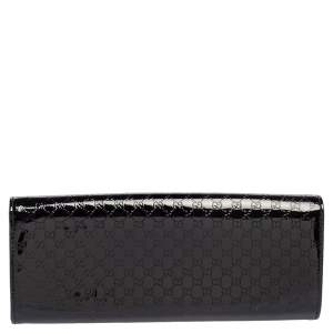 Gucci Black Microguccissima Patent Leather Broadway Clutch