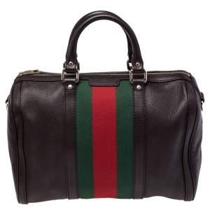 Gucci Dark Brown Leather Medium Vintage Web Boston Bag