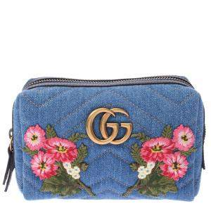 Gucci Blue GG Marmont Floral Embroidery Pouch