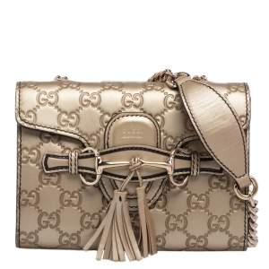 Gucci Metallic Beige Guccissima Leather Mini Emily Crossbody Bag