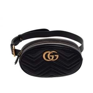 حقيبة خصر غوتشي مارمونت GG جلد شيفرون أسود