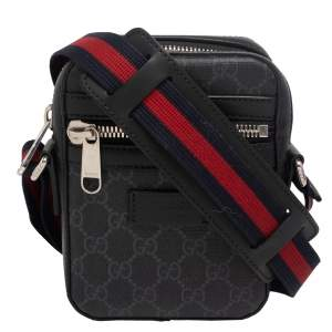 Gucci Black/Grey GG Supreme Canvas And Leather Messenger Bag