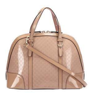 Gucci Beige Patent Leather Nice Satchel Bag