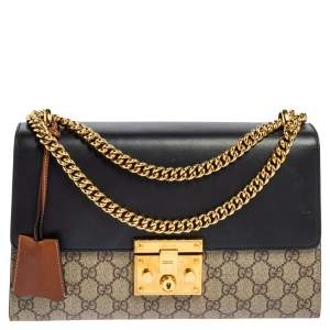 Gucci Black/Brown GG Supreme Canvas and Leather Medium Padlock Shoulder Bag
