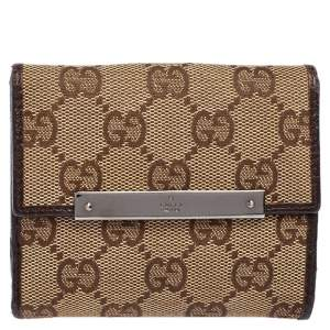 Gucci Beige/Ebony GG Canvas and Leather French Flap Wallet