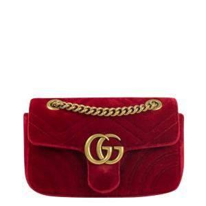 Gucci Red Velvet XS Marmont Shoulder Bag