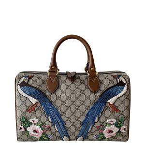 Gucci Beige/Brown GG Canvas Embroidered Bsoton Bag