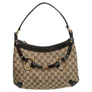 Gucci Beige GG Canvas Horsebit Hobo Bag
