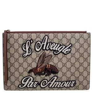 Gucci Beige/Brown GG Supreme Canvas and Leather L'Aveugle Par Amour Pouch