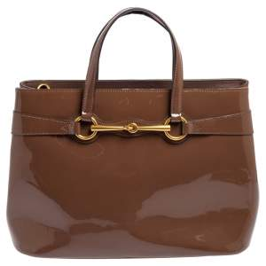 Gucci Brown Patent Leather Medium Bright Bit Tote