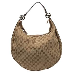 Gucci Metallic Brown/Beige GG Canvas and Leather Large GG Twins Hobo