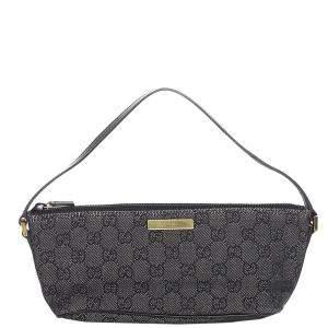 Gucci Black Canvas Boat Baguette Bag