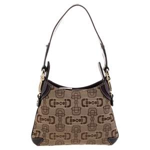 Gucci Beige Horsebit Canvas And Brown Leather Hobo