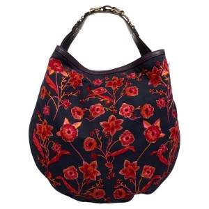 Gucci Navy Blue/Red Floral Embroidered Canvas And Leather Wave Hobo
