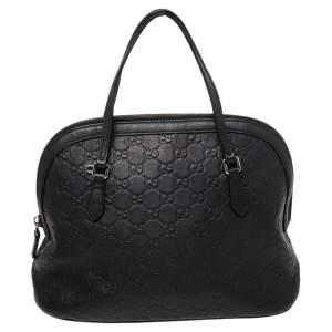 Gucci Black Guccissima Leather Medium Dome Bag