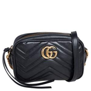 حقيبة كروس غوتشي ميني جي جي مارمونت جلد ماتلاسيه أسود