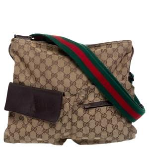 Gucci Beige GG Canvas Medium Web Double Pocket Messenger Bag
