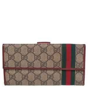 Gucci Beige GG Supreme Canvas Web Bifold Continental Wallet