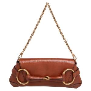 Gucci Brown Leather Horsebit Chain Clutch