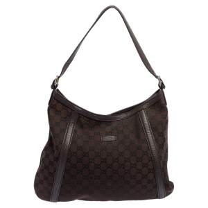 Gucci Brown GG Canvas And Leather Abbey Hobo
