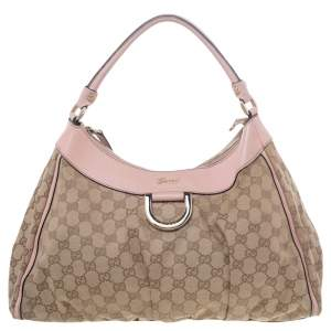 Gucci Beige/ Pink Canvas And Leather Abbey D-Ring Shoulder Bag