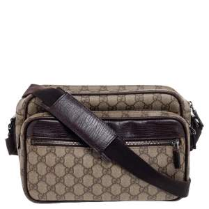 Gucci Beige/Brown GG Supreme Canvas And Leather Camera Crossbody Bag