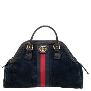 Gucci Black Suede And Leather Rebelle Satchel