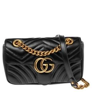 حقيبة كتف غوتشي ميني GG مارمونت جلد ماتيلاس أسود