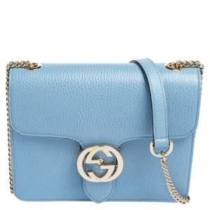 Gucci Blue Leather Small Interlocking G Shoulder Bag