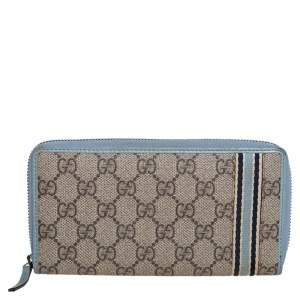 Gucci Beige/Blue GG Supreme Canvas and Leather Zip Around Wallet
