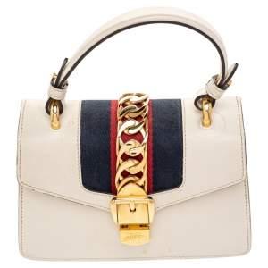 Gucci Cream Leather/ Canvas Sylvie Top Handle Bag