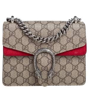 Gucci Beige/Red GG Supreme Canvas and Suede Mini Dionysus Shoulder Bag