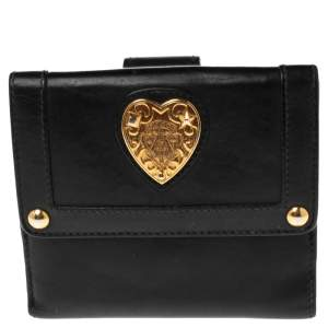Gucci Black Leather Babouska Compact Wallet