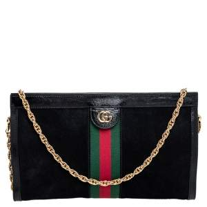 Gucci Black Suede and Patent Leather Medium Ophidia Chain Shoulder Bag