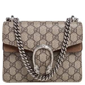 Gucci Beige GG Supreme Coated Canvas and Suede Mini Dionysus Shoulder Bag