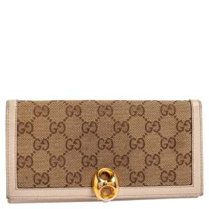 Gucci Beige/Ivory GG Canvas and Leather Continental Wallet