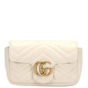Gucci White Matelasse Leather GG Marmont Super Mini Shoulder Bag