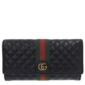 Gucci Black Quilted Leather Web Wallet