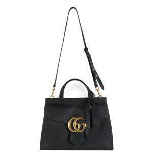Gucci Black Calf Leather GG Marmont Small Top Handle Bag